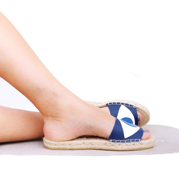 Evil Eye Espadrilles Slides - Blue - Maslinda Designs