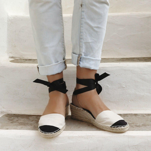 Ma Belle Low Wedge Espadrilles in Ecru - Maslinda Designs
