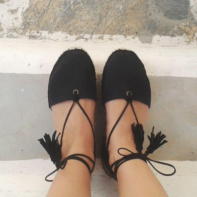 BOHO LACE-UP ESPADRILLES - BLACK-Maslinda Designs