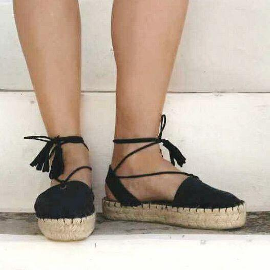Boho Lace Up Espadrilles Black - Maslinda Designs