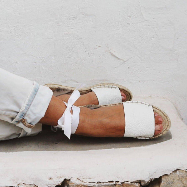 Leather Espadrilles Sandals in White - Maslinda Designs
