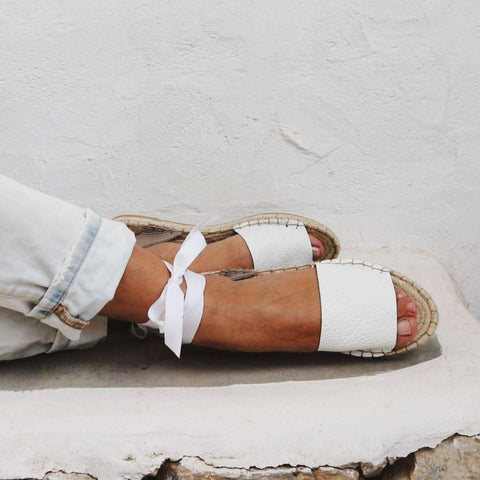 Leather Espadrilles Sandals in White