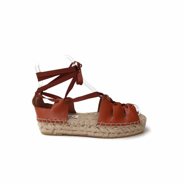 Gladiator Espadrille Leather Sandals. - Maslinda Designs
