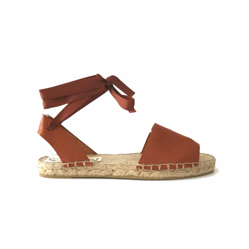 TAN LEATHER ESPADRILLES - Maslinda Designs