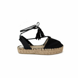 Boho Lace up Espadrille in Black