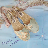 Wedding Espadrilles Sandals - World Map Print - Flatform Sole - Maslinda Designs