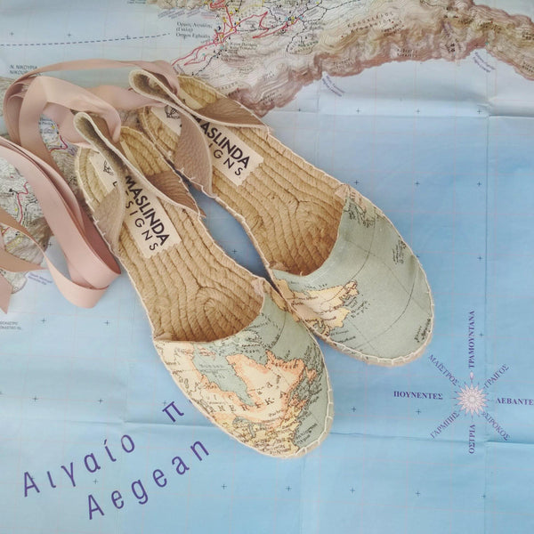 Maps Fabric Lace-Up Espadrilles Sandals-Maslinda Designs