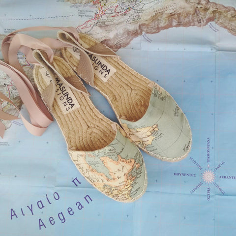 ESPADRILLES SANDALS - WORLD MAP PRINT - CLASSIC SOLE - Maslinda Designs