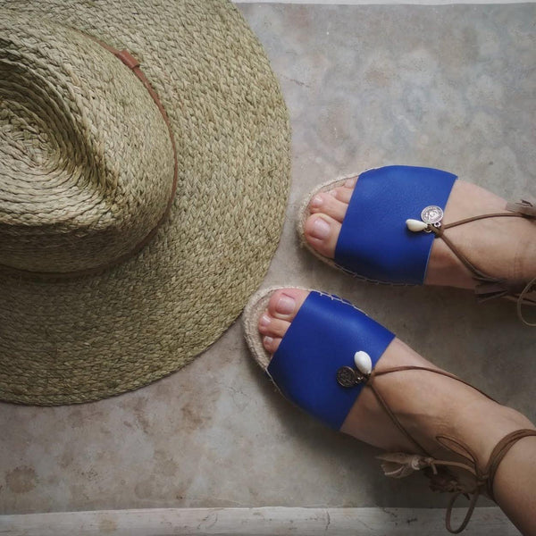 BOHO LEATHER ESPADRILLES - BLUE - Maslinda Designs