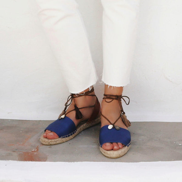 Boho Leather Espadrilles Blue - Maslinda Designs