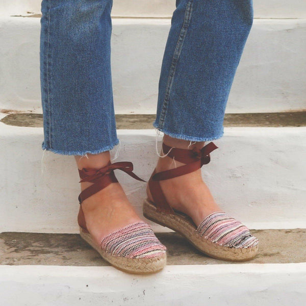 Espadrilles Sandals - Pink Stripes - Maslinda Designs