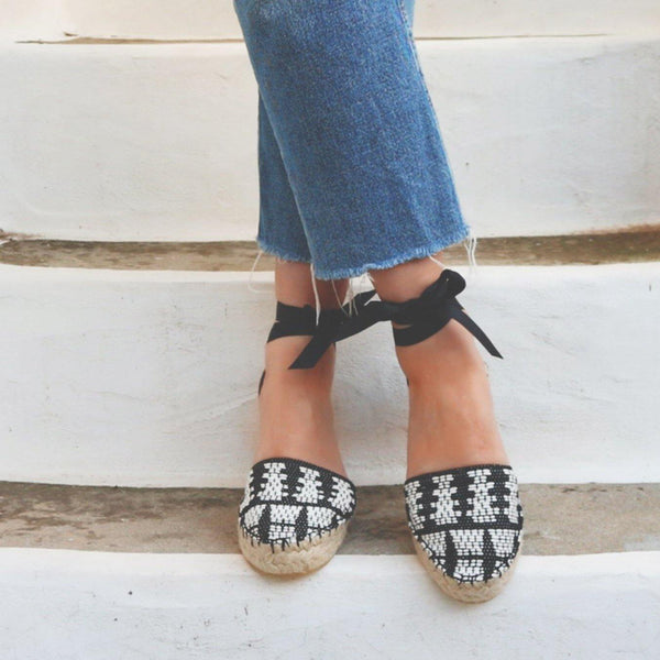 Espadrilles Sandals - Black and White - Maslinda Designs