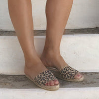 Espadrilles Slide Sandals in Leopard