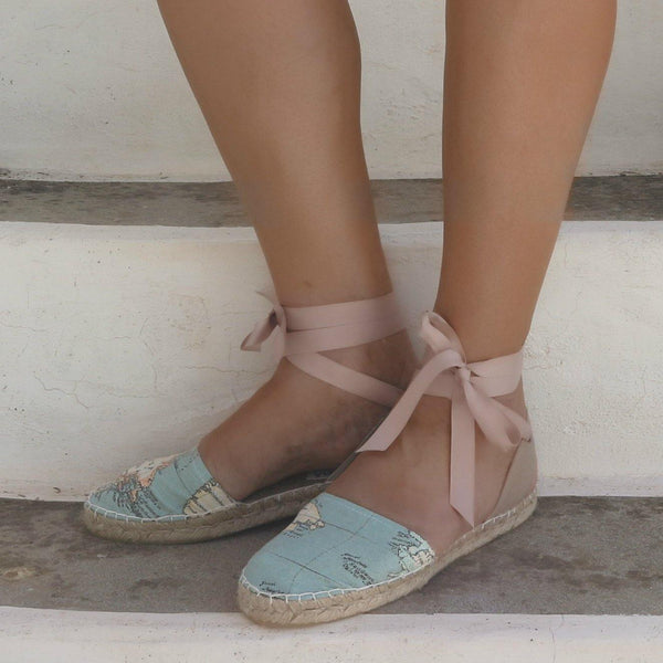 Maps Fabric Lace-Up Espadrilles Sandals