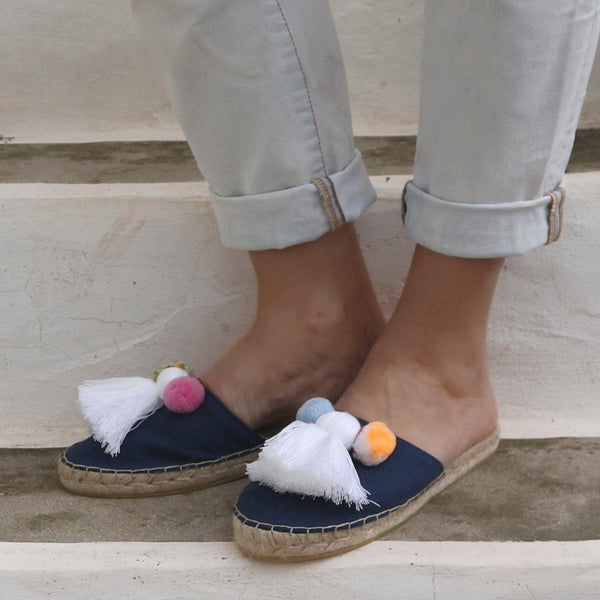 Espadrille Mules with Tassels in Navy