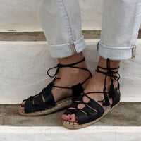 Gladiator Espadrille Leather Sandals  - Black - Maslinda Designs