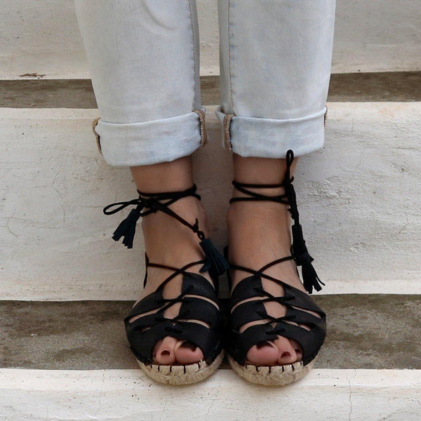 Gladiator Espadrille Leather Sandals in Black-Maslinda Designs