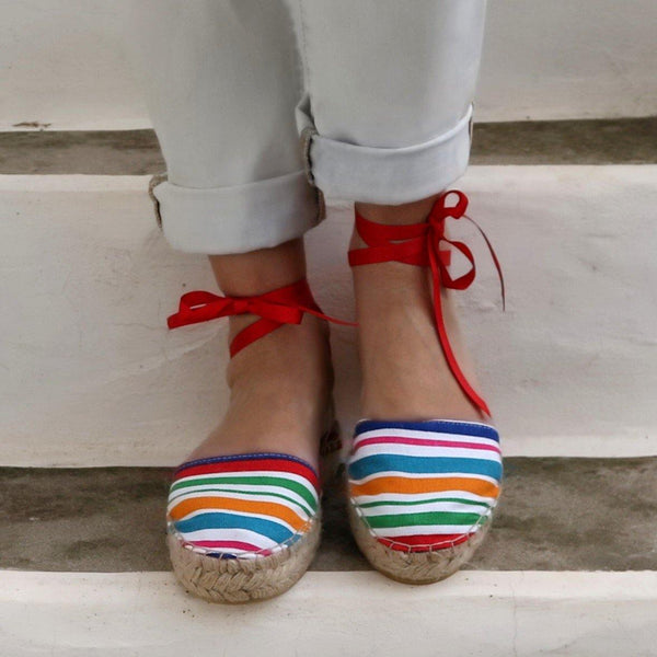 Espadrilles Sandals - Rainbow Stripes - Maslinda Designs
