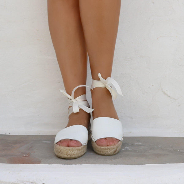 Platform Leather Espadrilles Sandals in White - Maslinda Designs