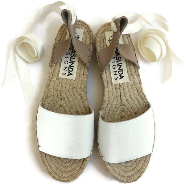 LEATHER ESPADRILLES SANDALS -WHITE - Maslinda Designs