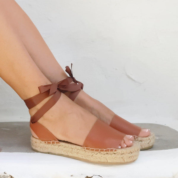 Platform Leather Espadrilles Sandals - Tan - Maslinda Designs