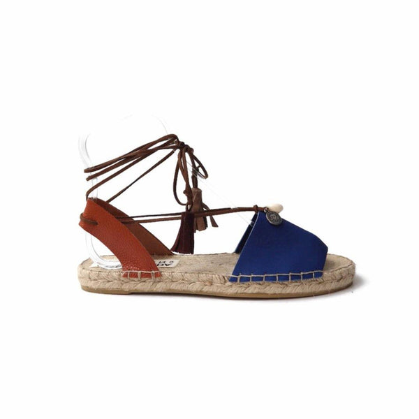 Boho Lace up Espadrilles Sandals in Blue