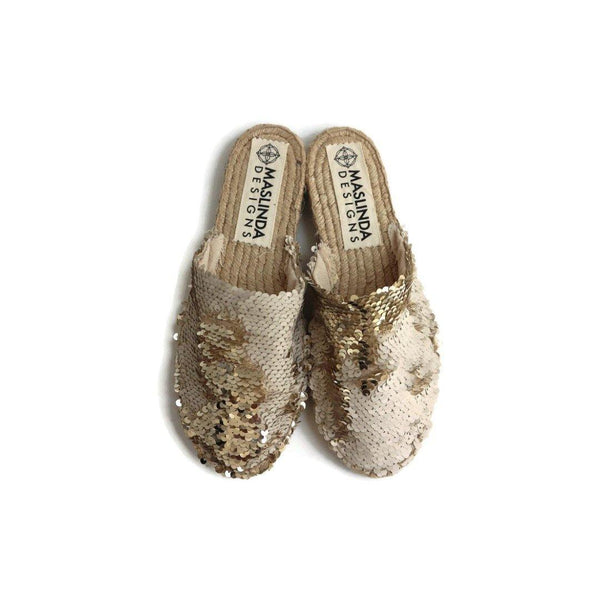 Espadrille Mules with Sequins in Champagne
