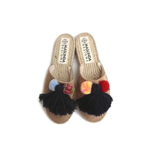 ESPADRILLES SLIPPERS - BLUE TASSEL- NATURAL JUTE - Maslinda Designs