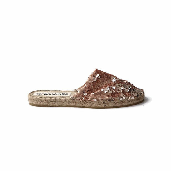 Espadrille Mules with Sequins in Rose
