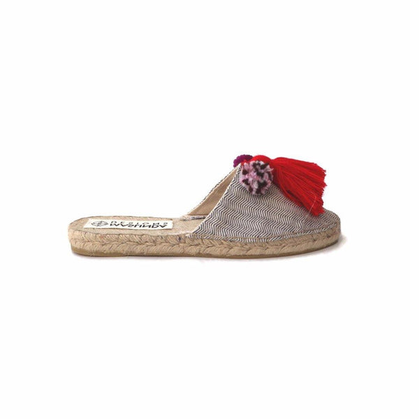 Espadrille Mules with Tassels in Herringbone