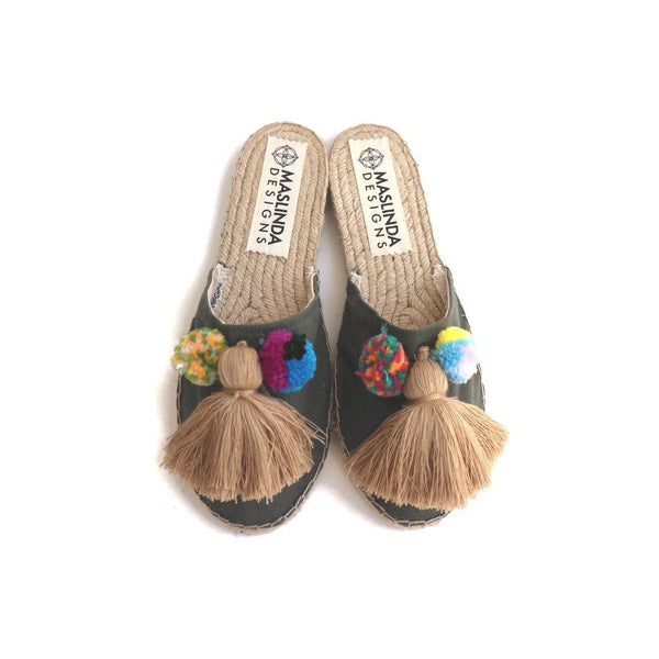 Espadrille Mules with Tassels in Khaki