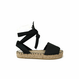 Black  Leather Espadrille Sandals