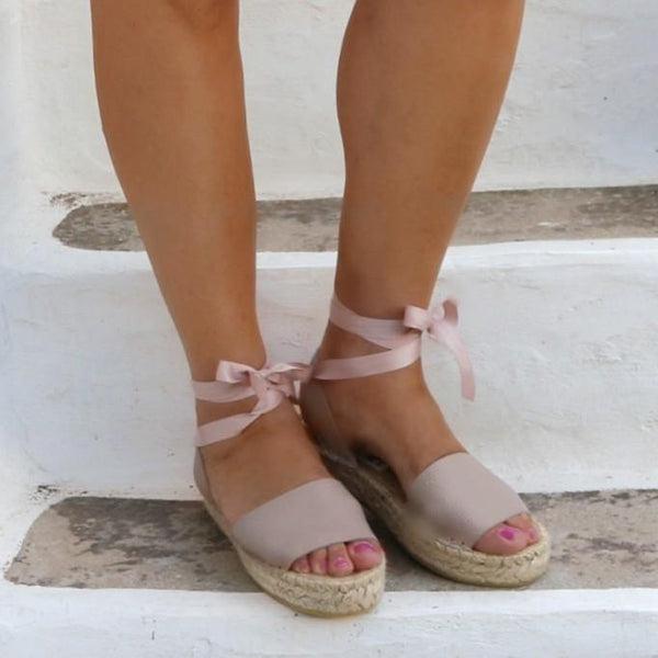 Nude Leather Espadrilles Sandals - Maslinda Designs