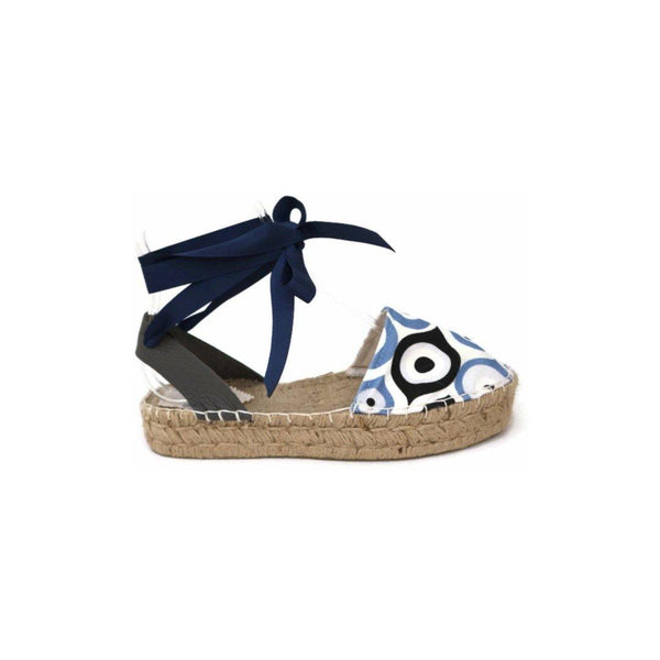 Evil Eye Print Lace up Espadrilles Sandals