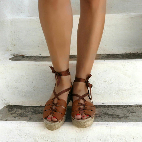 Gladiator Espadrille Leather Sandals -Tan - Maslinda Designs