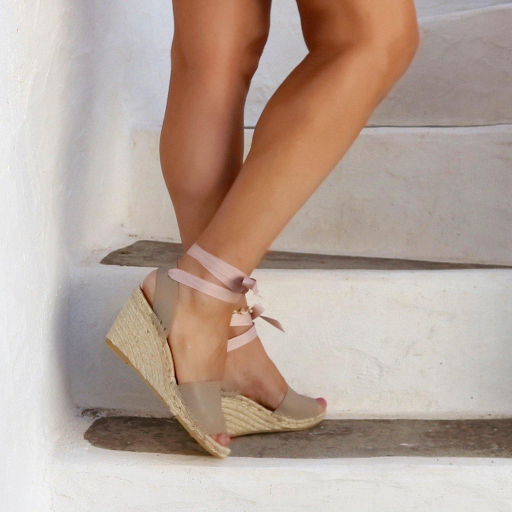 HIGH WEDGE ESPADRILLES SANDALS- NUDE BEIGE - Maslinda Designs