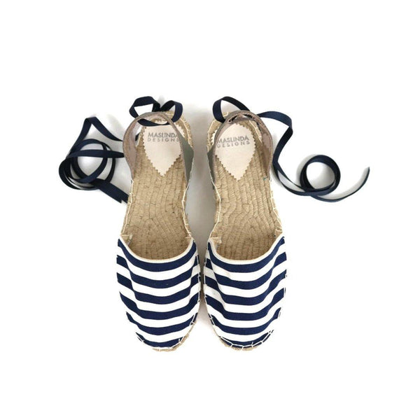 Navy Stripes Espadrilles Sandals-Maslinda Designs
