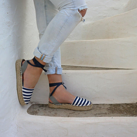 ESPADRILLES SANDALS - NAVY STRIPES - Maslinda Designs