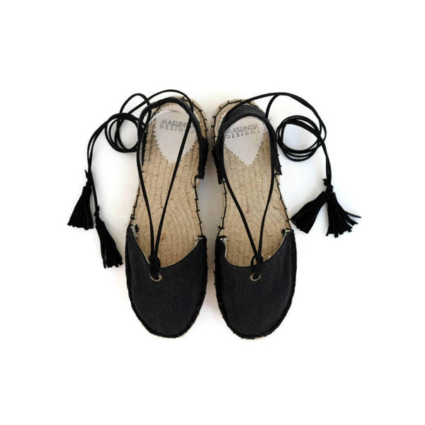 Black Espadrille Sandals with Tassels