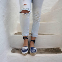Espadrilles Sandals Navy Stripes - Maslinda Designs