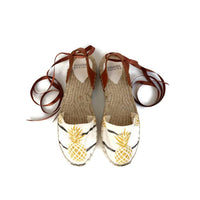 Pineapple Print Lace up Espadrilles Sandals