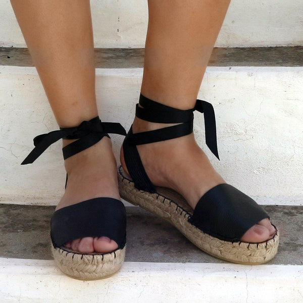 Black Leather Espadrille Sandals-Maslinda Designs