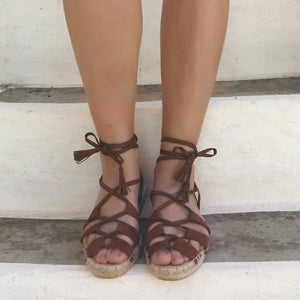 VEGAN ESPADRILLES SANDALS - GLADIATOR TAN - Maslinda Designs