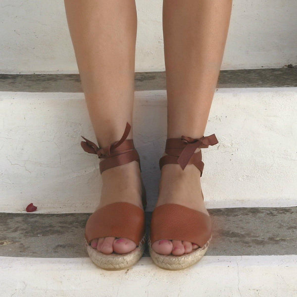 Leather Espadrilles Sandals - Tan - Maslinda Designs