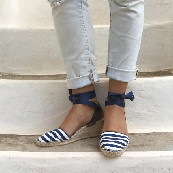 Low Wedge Espadrilles Navy Stripes - Maslinda Designs