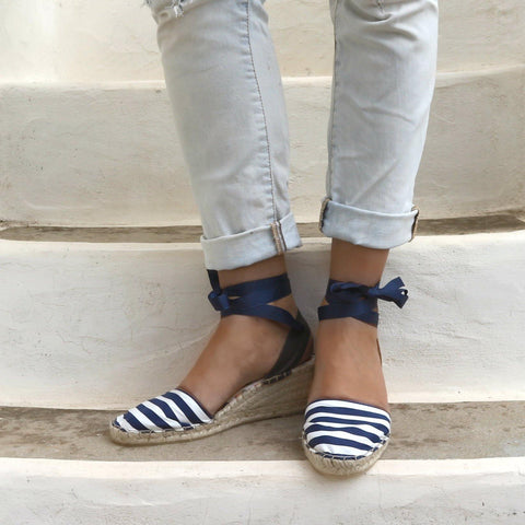 LOW WEDGE ESPADRILLES - NAVY STRIPES - Maslinda Designs
