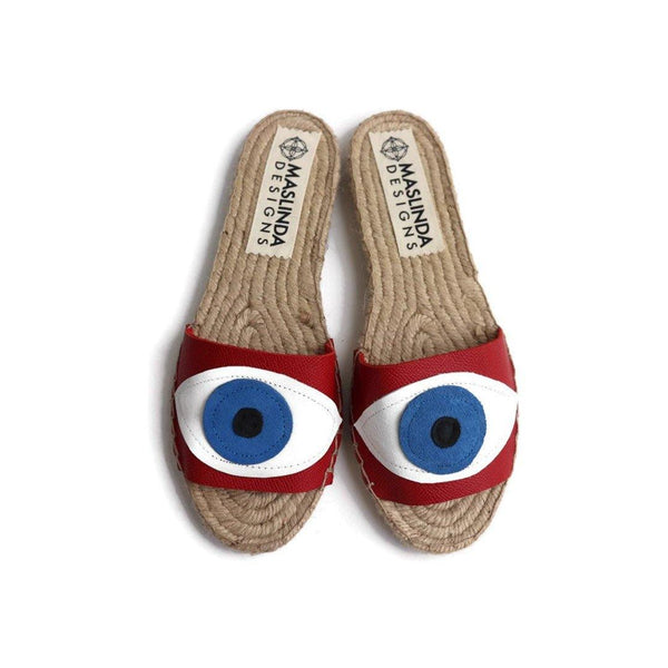 Espadrilles Sandals with Evil Eye. Red Slides Shoes,  Open Toe Shoes. Flat Summer Shoes for Women. Handmade Leather Greek Sandals.