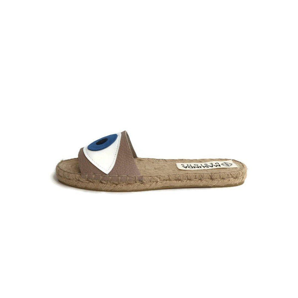 EVIL EYE SLIDES - BEIGE - Maslinda Designs