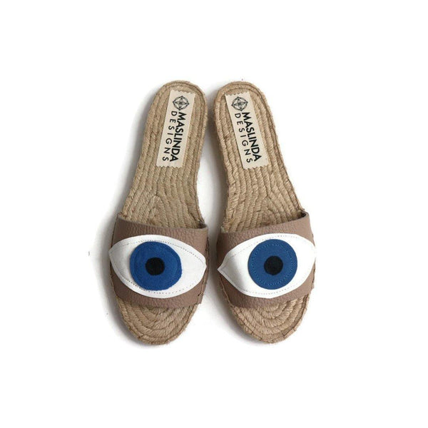 Espadrilles Sandals with Evil Eye in Beige. Leather Sandals. Flat Summer Slides Shoes for Women. Handmade Greek Sandals, Gift for Her