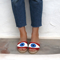 Evil Eye Slides REd - Maslinda Designs